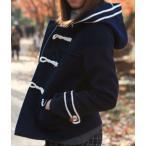 ショッピングダッフル ダッフルコート レディース アウター コート 学生 フード付き 大きいサイズ 防寒 ポケット 二本ライン 長袖