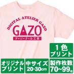 オリジナルで作るTシャツ印刷 中サイズ1色プリント 製作枚数70〜99枚