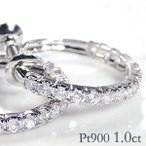 pt900 プラチナ ダイヤモンド ダイヤ イヤリング エタニティ 1.0ct 1カラット ネジ式 4月 誕生石 GUPE110B