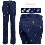 裾上げ無料 VAGIIE バジエ SLIM FIT ロゴ&space刺しゅう ノータック 綿ストレッチパンツ ネイビー