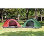 テント 1〜2人用ドーム型テント レッド OUTDOOR MAN