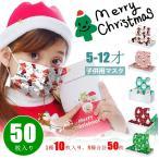 マスク 子供用 クリスマスプレゼント サンタ 不織布 幼児 子どもマスク 5種類 1種10枚入り 50枚 小さめ 使い捨て 立体型 小さいサイズ