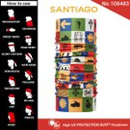 【メール便 送料無料】High UV Protection Buff No.108483_SANTIAGO【バフ/ネックウォーマー/バンダナ】