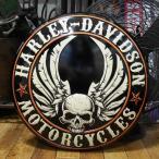 ハーレーダビッドソン Flying Skull Button Sign ダイカットエンボスティンサイン HARLEY-DAVIDSON