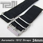 Aeromatic 1912 (エアロマティック1912) A-Band-NATO-BK-24 純正 替えベルト 24mm NATOナイロンベルト ブラック 腕時計【あすつく】