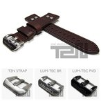 【22/20MM 120/80】 LUM-TEC (ルミテック) ST305-22 本皮レザーベルト/ストラップ リベット ダークブラウン 替えベルト 腕時計用