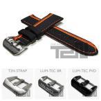 【24/22MM 120/80】 LUM-TEC (ルミテック) ST310-24 ナイロン×レザーベルト/ストラップ オレンジストライプ ブラック 替えベルト 腕時計用