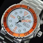 DEEP BLUE (ディープブルー) SUN31KORWH PRO SUN DIVER 3 1000m防水 ダイバーズ 自動巻き 日本ムーブメント搭載 ホワイトダイアル オレンジベゼル 腕時計