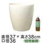 植木鉢 おしゃれ 鉢カバー ラスターポット 370型 36.5cm 白 10号鉢用