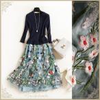 ドレス パーティードレス リブニットとフラワー刺繍チュールのドッキングで王道モテ七分袖ワンピ cpb90
