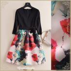大人気の王道フラワー柄ドッキングドレス / ワンピース ドレス cpc73