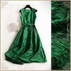 ドレス パーティードレス レーシィなマテリアルのグリーンワンピ cpL78