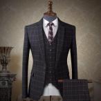 チェック柄 スーツ ベスト付き 長袖 ビジネススーツ ジャケットスーツ スリムミニマリスト フォーマル スーツ 男性用 リクルートスーツdg585f0f0m2