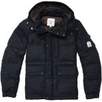 FIDELITY WOOL DOWN JACKET PATTERN NAVY NEP BROWN ダウンジャケット フィデリティー