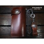 FUNNY ファニー 財布 ライダースウォレット プレーン コードバン 50セントケネディーコンチョ ブラウン