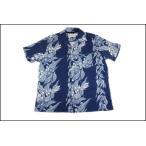 GOOD ON/グッドオン  インディゴフラワーストライプハワイアンTシャツ  インディゴ