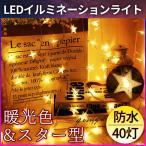イルミネーションライト LEDライト 星 スター ガーランド クリスマスツリー 飾り 関節照明 電池式 ポイント消化