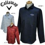 キャロウェイ ゴルフ メンズウェア 北極海プリント 裏起毛スムース ホリゾンタルカラー 長袖ポロシャツ 241-6256505