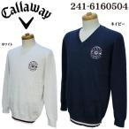 キャロウェイ Callaway ゴルフ メンズウェア ジャガード Vネック ニットセーター 241-6160504