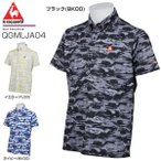 今日なら500円引きクーポン発行中 ルコック メンズ ゴルフウェア クラックプリント 半袖ポロシャツ QGMLJA04
