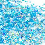 ウィンターカラー 雪 スノー 結晶 封入 パーツ ホログラム ラメ パール ミックス ケース入 1個 2109 rp-171