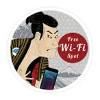 FREE Wi-Fi ステッカー シール ワイファイ 防水シール 外国人観光客用 識別 標識 案内 12cm×12cm 浮世絵