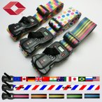 重量計・TSAロック付きGPTスーツケースベルト アウトレット品 おしゃれなチェック柄・水玉柄・ストライプ柄・国旗柄 1点のみメール便OK(gu1a150)