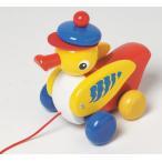 ドイツ製 木のおもちゃ ニック社 知育玩具 プルトーイ 帽子のあひる 青 ひっぱるおもちゃ 歩行練習に アヒル