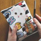jetoy ジェトイ choochoo本舗 チューチュー本舗 猫のコットンポーチ ストライプ 白ネコの化粧ポーチ チュチュ
