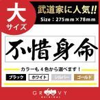 剣道 ステッカー 大サイズ 不惜身命 名言 格言 四字熟語 ドレスアップ 文字 シール グッズ 用品 道具