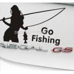 釣り好き女子・ギャルステッカー / バス釣り・渓流釣り・海釣り・フィッシング /車 デカール シール