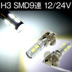 LEDフォグバルブ 12V/24VH3 SMD9連 プロジェクターレンズ 白 2個