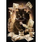 ししゅう糸 DMC糸 クロスステッチ刺繍キット 布地に図柄印刷 ドル現金猫