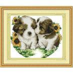 クロスステッチ刺繍キットDMC刺繍糸 kiss小犬