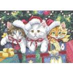 ししゅう糸 DMC糸 クロスステッチ刺繍キット 3匹のサンタ猫