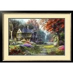 クロスステッチ刺繍キット DMC糸 布地に図柄印刷 森林豪邸