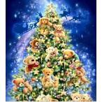 クロスステッチ刺繍キット DMC糸 布地に図柄印刷 クリスマスツリーベアー クロスステッチキット クロスステッチ ししゅう糸 刺繍糸 刺繍針 刺繍キット