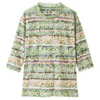 7分袖オパール花柄Tシャツ グリーン LL 89723-13