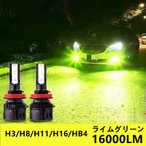 LED フォグランプ H3 H8 H11 H16 グリーンイエロー ライム アップルグリーン レモン 12V 24V ライムグリーン ライムイエロー グリーン 緑
