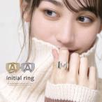 指輪 イニシャルリング レディース メンズ シンプル ゴールド シルバー