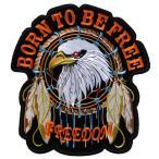 大きい アイロンワッペン 1 バイカー スカル パッチ BORN TO BE FREE FREEDOM