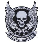 大きい アイロンワッペン 5 バイカー スカル パッチ CAFE RACER