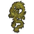 大きいアイロンワッペン 龍 ドラゴン 竜  金右向き