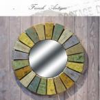 ウォールミラー 鏡 壁掛け 幅630×奥行き25×高さ630mm アンティーク カントリー 家具 雑貨 カントリー調 おしゃれ ミラー フレンチ レトロ 木製 枠