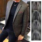 テーラードジャケット メンズ 50代 ブレザー ビジネス ジャケット 就活 通勤 宴会 チェック柄 お兄系 新作 春服