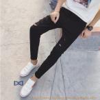ジーンズ メンズ 黒 デニムパンツ デニム Gパン ジーパン ダメージ加工 スリム ビター系 ファッション 新春 2019