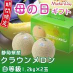 母の日ギフト クラウンメロン 白等級 約2.4kg 2玉 静岡県産 送料無料 母の日 ギフト