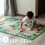 男の子 キッズラグ ロードマップ 2 約110×133cm (小) (約1畳) カーペット プレイマット デスクマット 道路
