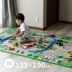 男の子 道路 カーペット プレイマット デスクマット キッズラグ ロードマップ 2約133×190cm (中)(約1畳半)