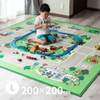 男の子 道路 カーペット プレイマット デスクマット キッズラグ ロードマップ 2約200×200cm (大)(約2畳半)